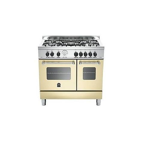 amd-5c61bcr la germania cucina 90 cm 5 fuochi 2 forni elettrici crema