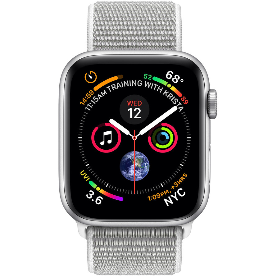 Apple MU6C2TY/A Smartwatch 44 mm Serie 4 GPS Capacità 16 GB Wifi colore Silver, Sport Loop conchiglia