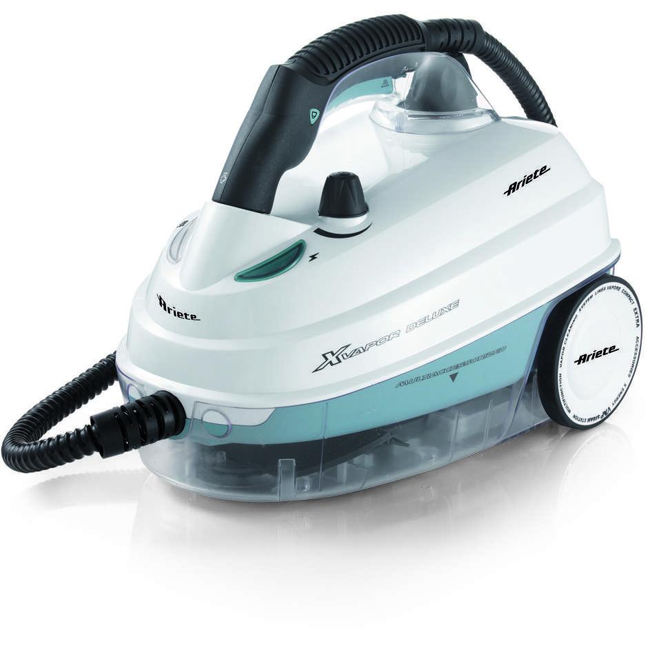 Ariete 4146 Xvapor Deluxe pulitore a vapore a traino potenza 1500 Watt colore bianco e azzurro