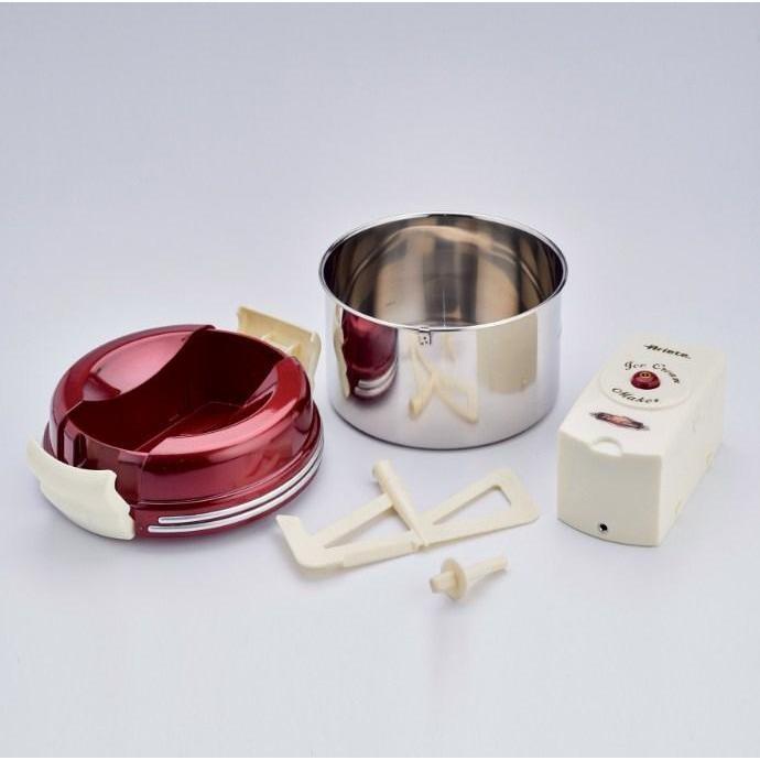 Ariete 630 Frozen Ice Cream gelatiera ricaricabile 1 Kg colore rosso, inox, bianco