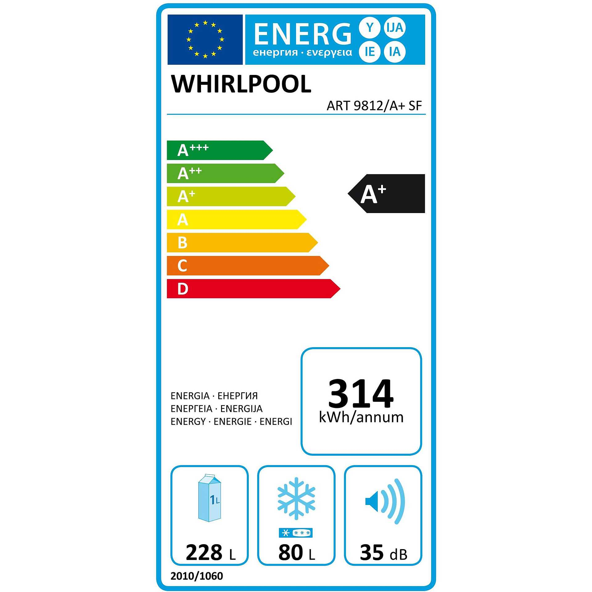 ART 9812/A+ SF Whirlpool frigorifero combinato da incasso 308lt ...