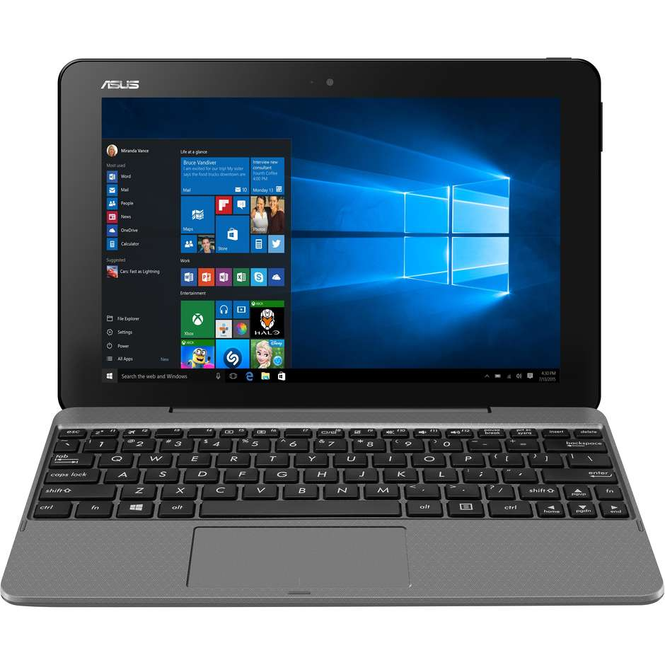 "Asus T101HA-GR036T Transformer Book Display 10.1"" 1280x800p  HD Intel Atom X5 Ram 4 GB Colore Grigio"