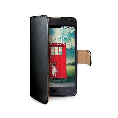black pu wallet case lg l90
