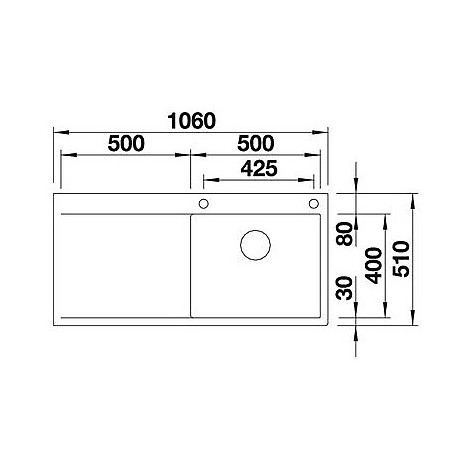 blanco 1517553 flow xl 6 s if r 4 lavello 106x51 1 vasca gocciolatoio a sinistra colore acciaio. Black Bedroom Furniture Sets. Home Design Ideas
