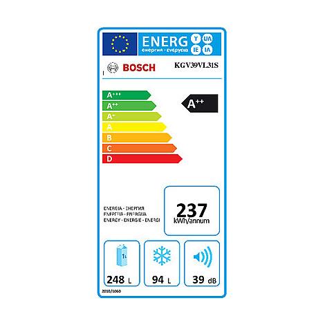 Bosch KGV39VL31S frigorifero combinato classe A++ 342 litri inox