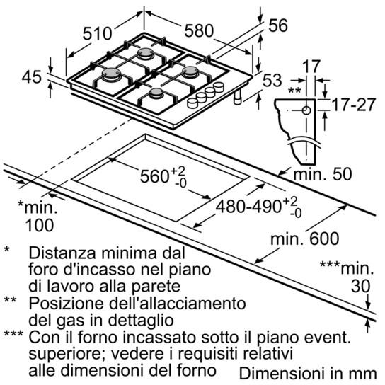 Bosch PBP6B5B80 Serie 2 piano cottura a gas 60 cm 4 fuochi colore inox