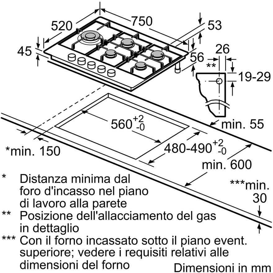 Bosch Pcs7a5m90 Piano Cottura A Gas 75 Cm 5 Fuochi Colore Inox