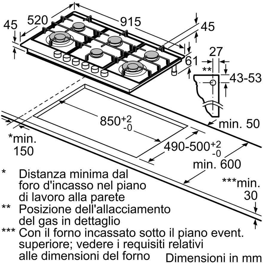 Bosch PCT9A5B90 piano cottura a gas 90 cm 6 fuochi griglie in ghisa ...