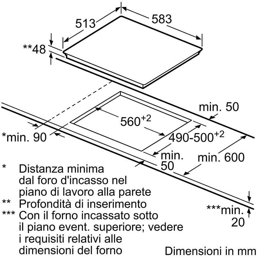 Bosch PKF645B17E piano cottura elettrico 60 cm 4 zone cottura ...