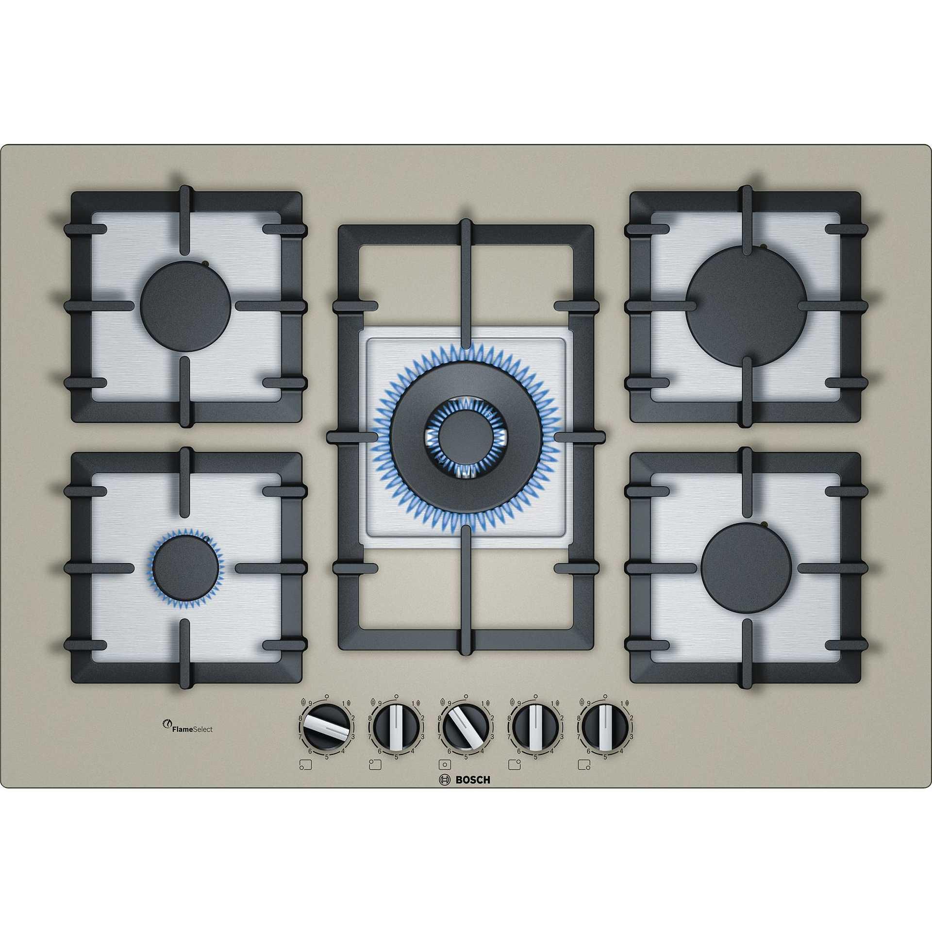 Bosch PPQ7A8B90 piano cottura a gas 75 cm 5 fuochi vetro temperato ...