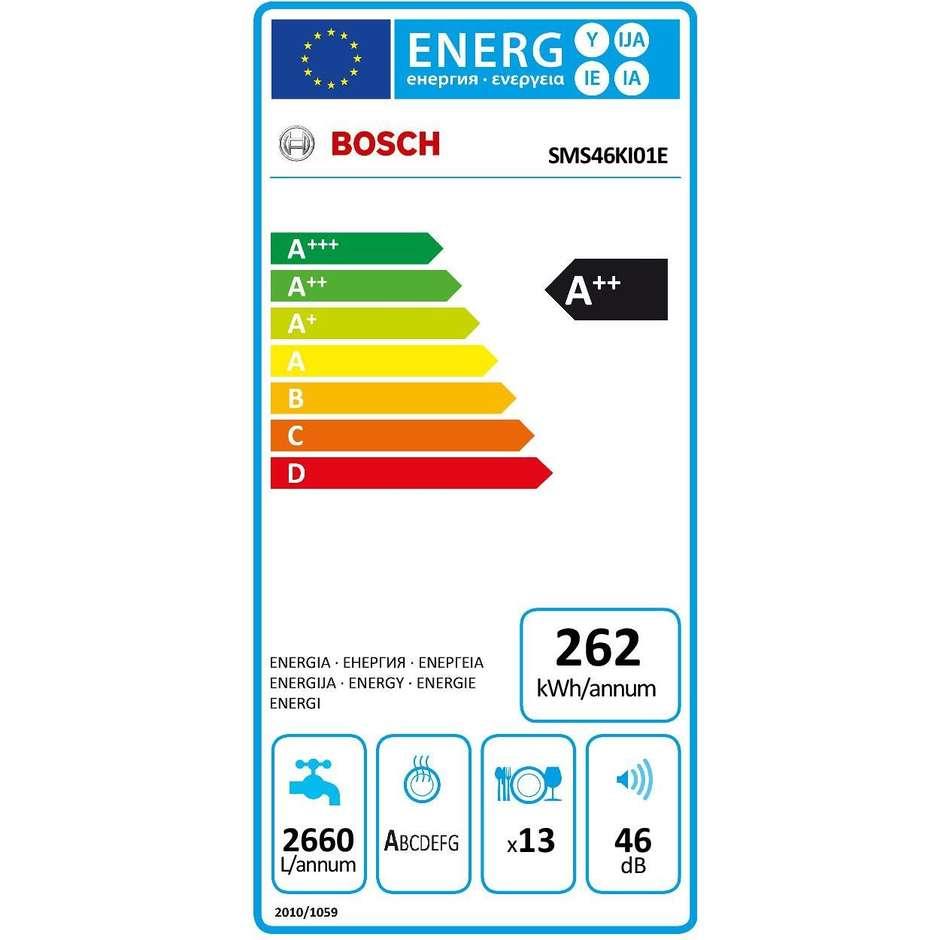 Bosch SMS46KI01E Silence Plus lavastoviglie 13 coperti 6 programmi classe A++ colore inox