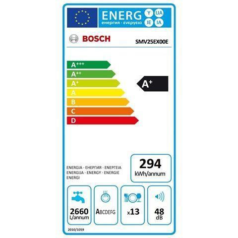 Bosch SMV25EX00E lavastoviglie a scomparsa totale 60 cm 13 coperti 5 programmi classe A+ 3° cestello