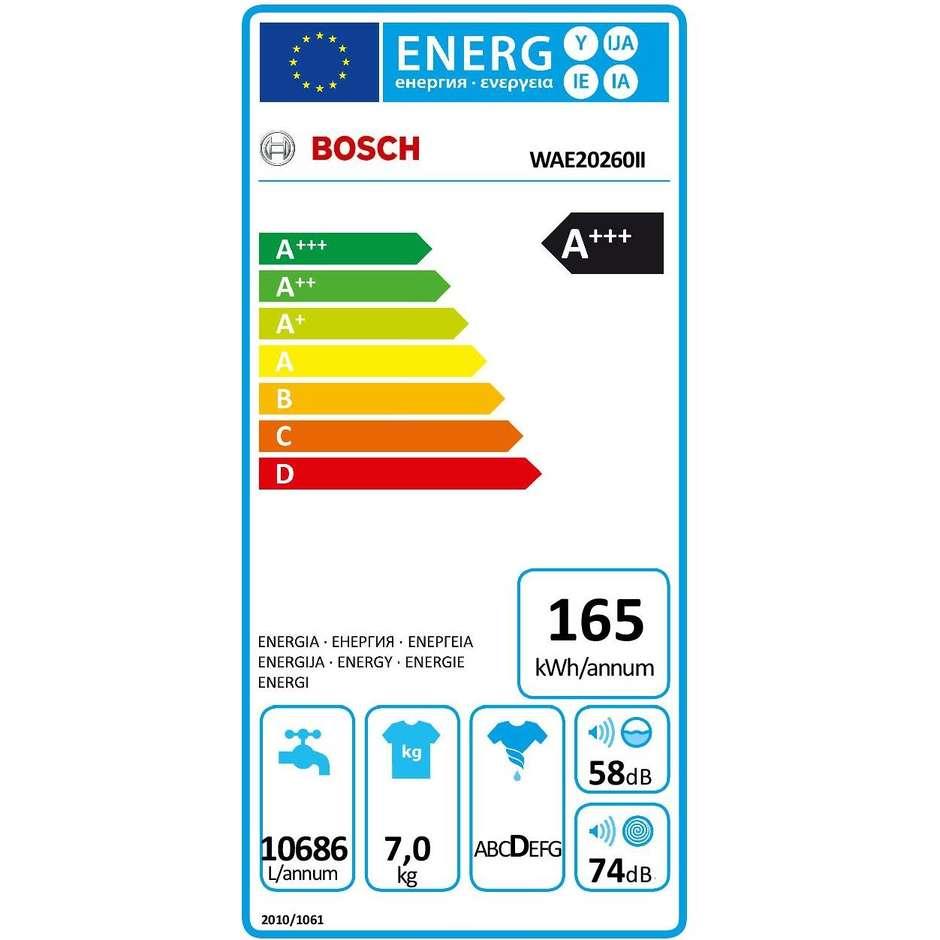 Bosch WAE20260II lavatrice carica frontale 7 Kg 1000 giri classe A+++ colore bianco