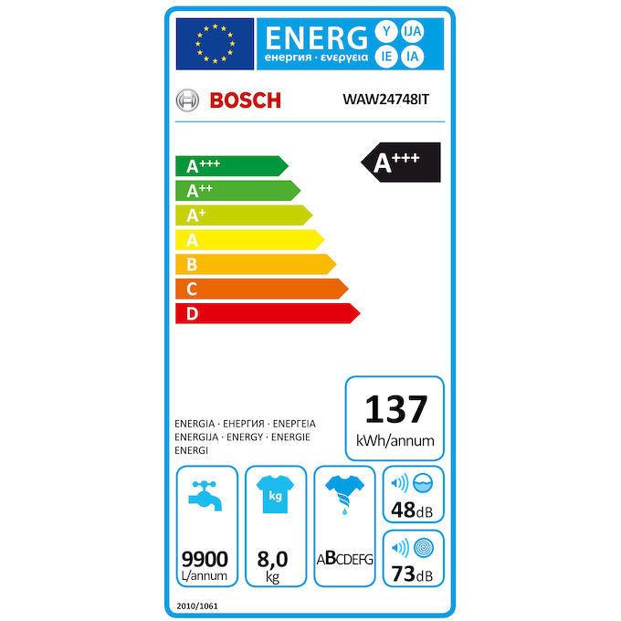 Bosch WAW24748IT Serie 8 Lavatrice carica frontale Classe A+++ 8KG 1200 Giri Colore Bianco
