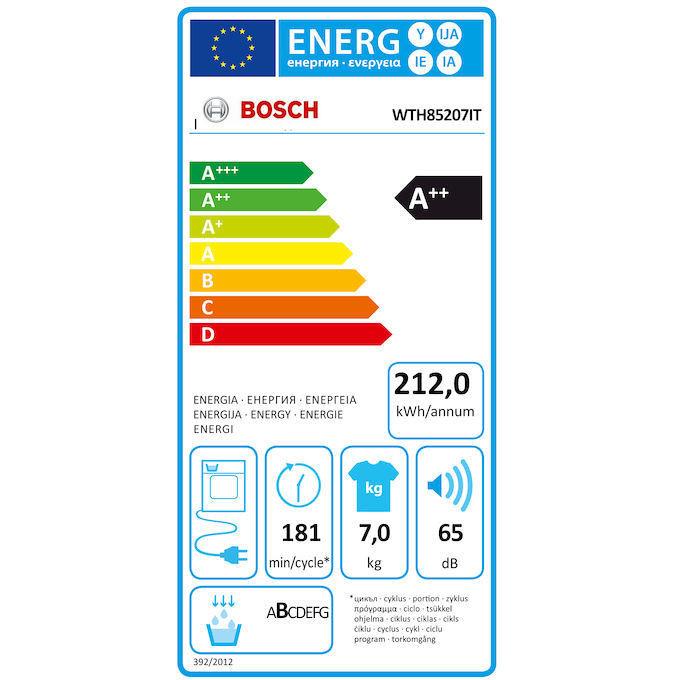 Bosch WTH85207IT Asciugatrice con pompa di calore 7 Kg classe A++ colore bianco