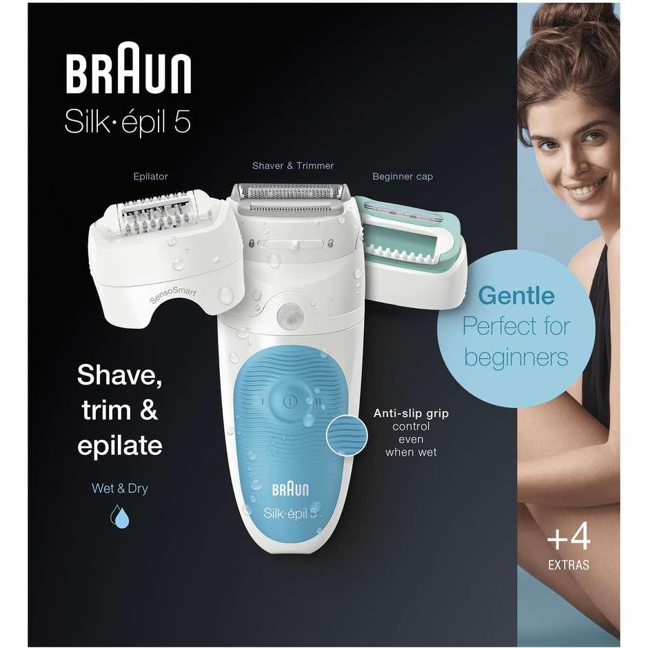 Braun Silk-épil 5-610 Epilatore ricaricabile Wet&Dry con 5 accessori colore bianco e azzurro