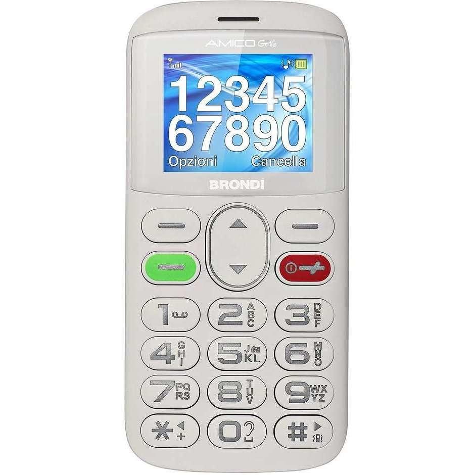 Brondi Amico Gentile + Telefono Cellulare Dual Sim colore Bianco
