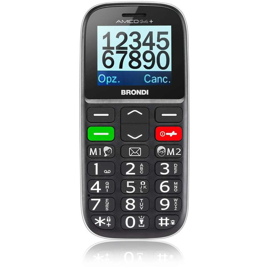 Brondi Amico Gentile + Telefono Cellulare Dual Sim Display 1,77 pollici colore Nero