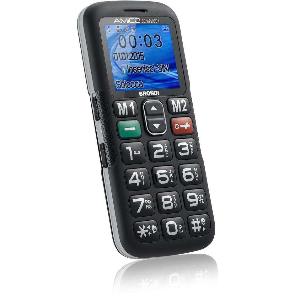 """Brondi Amico Semplice + telefono cellulare 1,8"""" dual sim Bluetooth colore nero"""