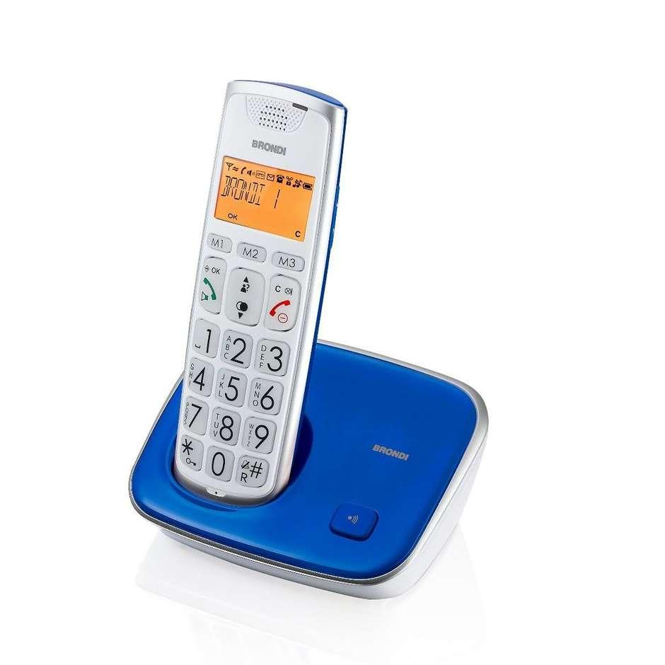 Brondi Bravo Gold 2 telefono cordless tasti grandi 20 memorie vivavoce colore blu
