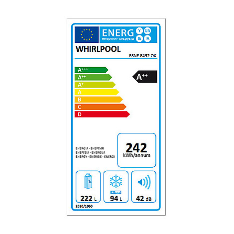 BSNF8452OX Whirlpool Frigorifero combinato  classe A++ 356 litri