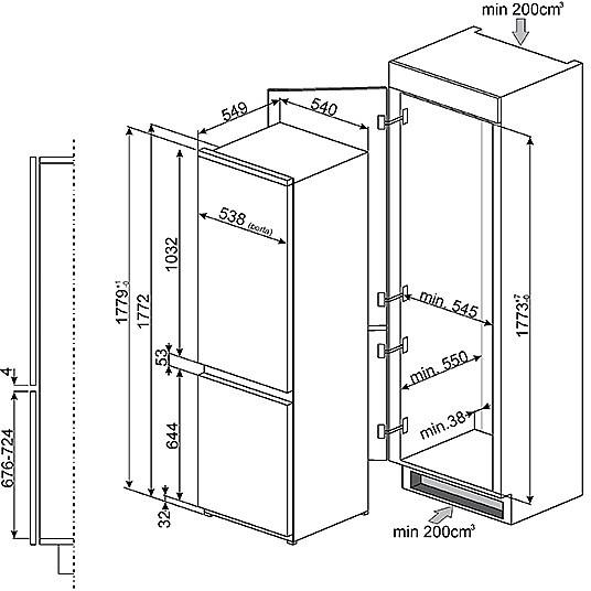 c-3172np frigorifero smeg classe a+ 280 litri ventilato