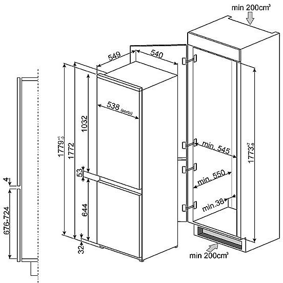 c-3174n2p smeg frigorifero classe a++ 280 litri ventilato