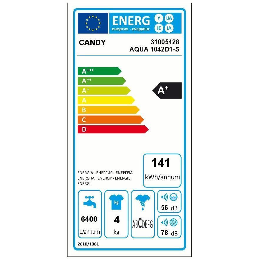 Candy AQUA 1042D1-S lavatrice 44 cm carica frontale 4 Kg 1000 giri classe A+ colore bianco