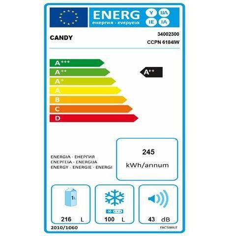 Candy CCPN 6184IW Frigorifero combinato 316 Litri Classe A++ Total No Frost colore Bianco
