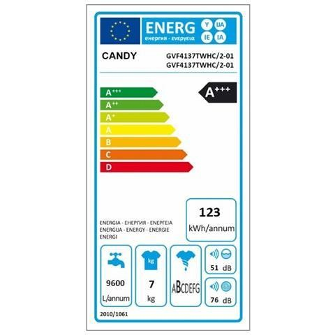 Candy GVF4 137TWHC/1-01 Lavatrice carica frontale 7 Kg 1300 giri classe A+++ colore Bianco