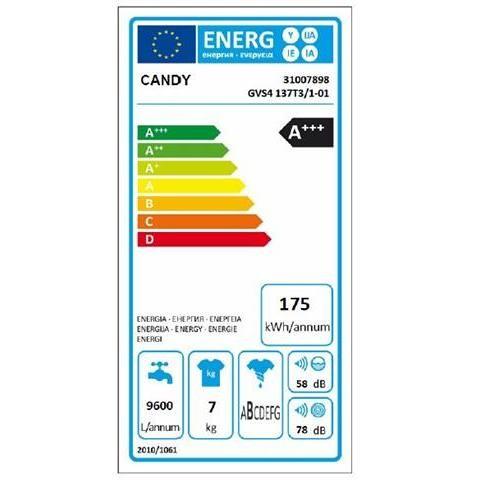 Candy GVS4 137T3/1-01 lavatrice stretta 40 cm 7 Kg 1300 giri classe A+++ -30% colore bianco