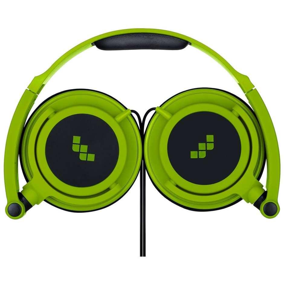 cuffia c/microfono verde/nero