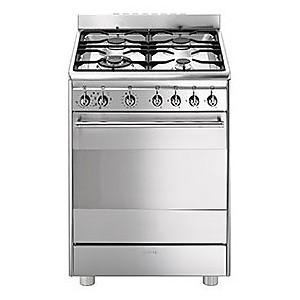 SMEG cx-68mf8-2 smeg cucina inox 4 fuochi a gas forno elettrico
