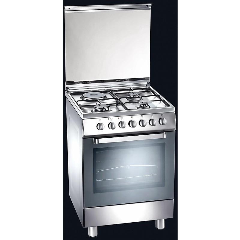 d-61xs tecnogas cucina da 60 cm 3 fuochi +1 piastra forno elettrico inox