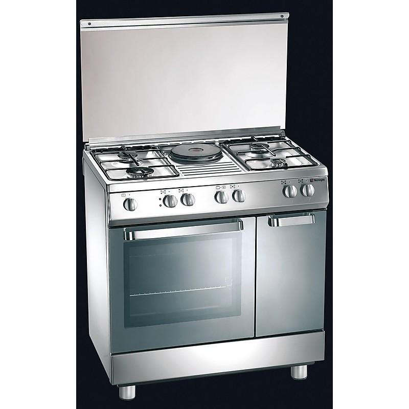 d-821xs tecnogas cucina da 80 cm 4 fuochi a gas +1 piastra forno elettrico inox
