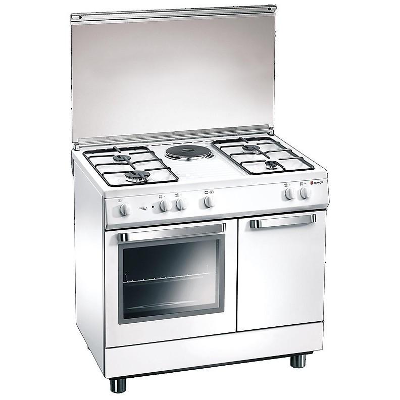 d-881ws tecnogas cucina da 80 cm 4 fuochi a gas +1 piastra forno elettrico bianca