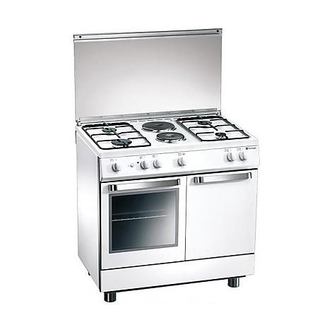 d-923ws tecnogas cucina da 90 cm 4  fuochi a gas +2 piastre forno elettrico white