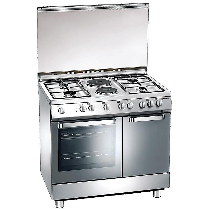 d-923xs tecnogas cucina da 90 cm 4  fuochi a gas +2 piastre forno elettrico inox