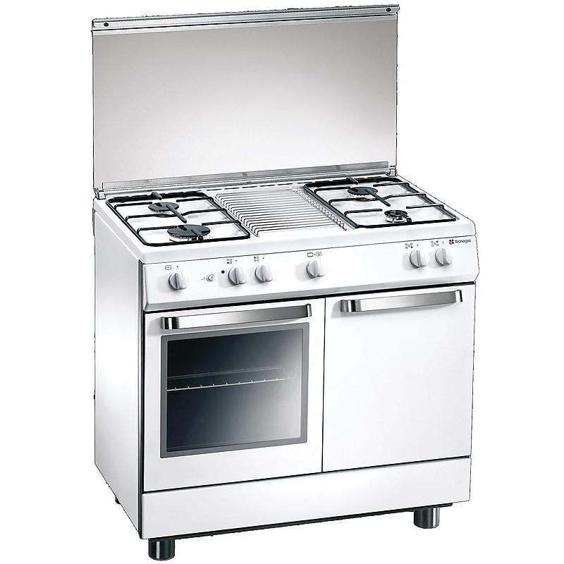 d-982ws tecnogas cucina da 90 cm 4 fuochi a gas forno a gas bianca