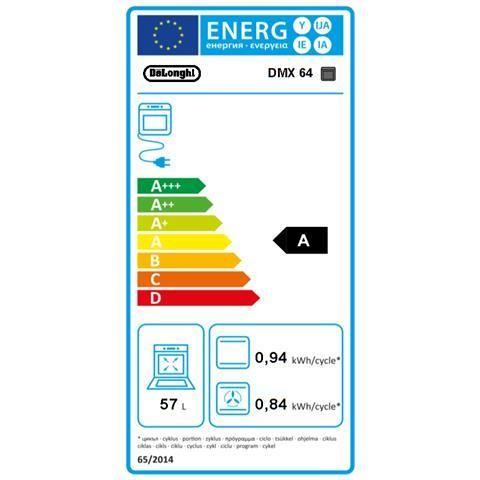 De Longhi DMX 64 cucina 60x60 4 fuochi a gas forno elettrico multifunzione 57 litri classe A colore inox