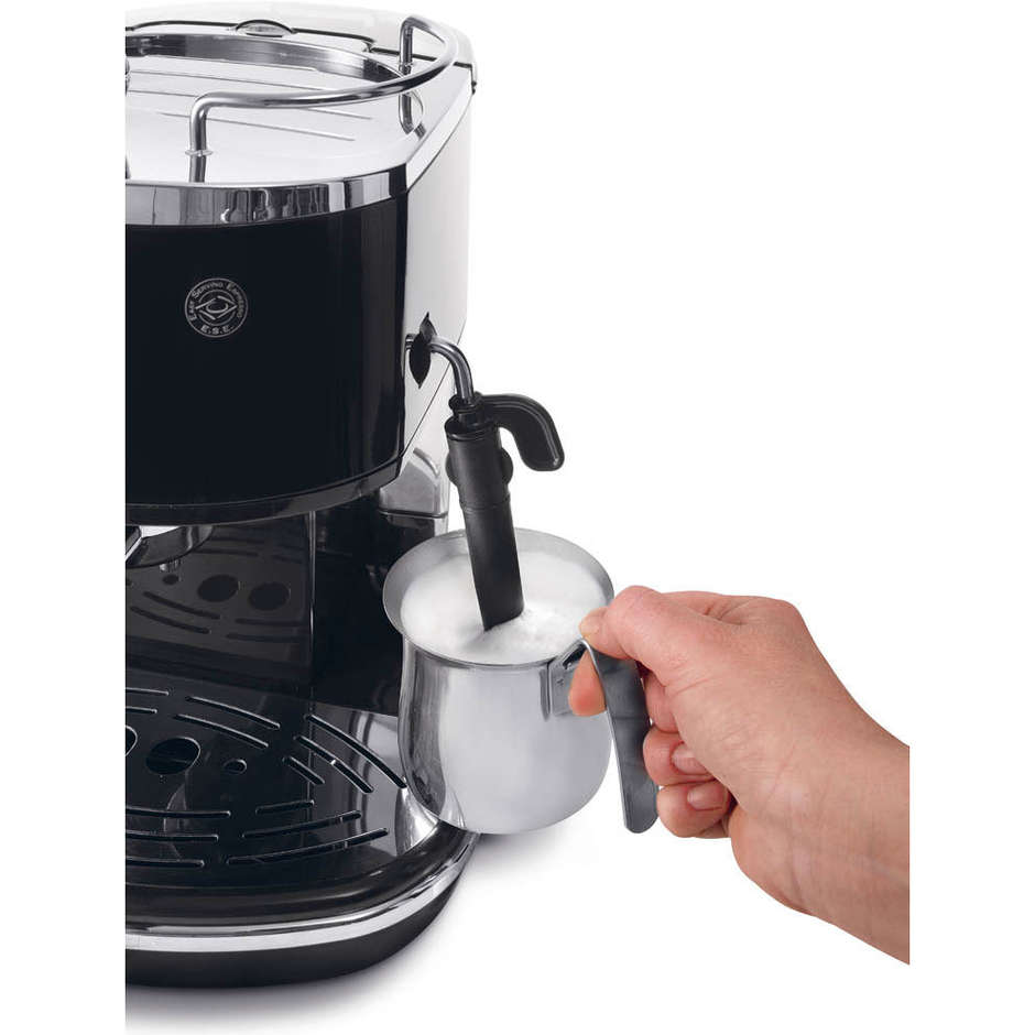 De Longhi ECO 311.BK Icona Eco macchina per il caffè polvere e cialde con cappuccinatore colore nero