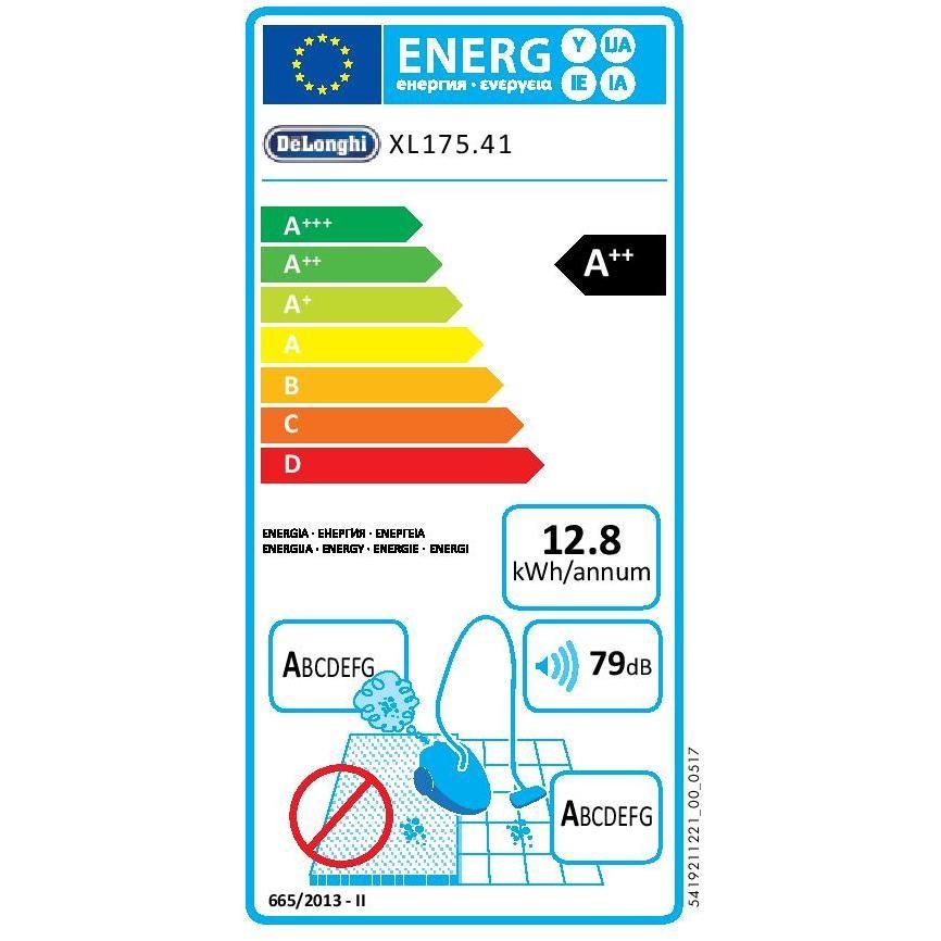 De Longhi XL175.41 Colombina Class scopa elettrica senza sacco filtro Hepa classe A++ colore grigio