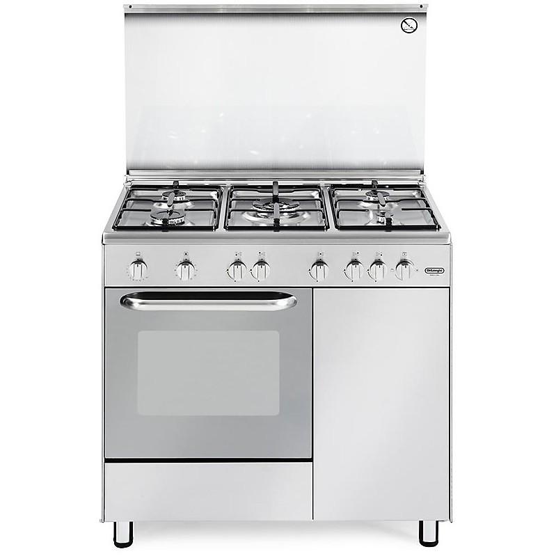 dgx-965 b de longhi cucina 90x60 cm 5 fuochi forno a gas inox ... - Delonghi Cucine A Gas