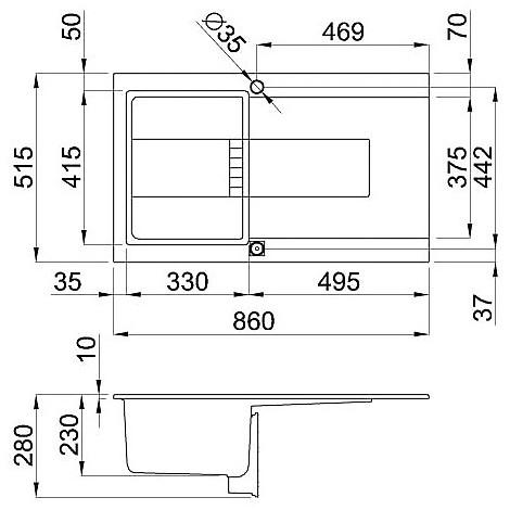 egi40043 elleci lavello sirex 400 86x51,6 1 vasca tortora 43 elettronico vasca sx