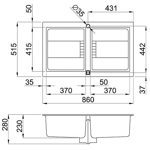 egi45043 elleci lavello sirex 450 86x51,6 2 vasche tortora 43 elettronico