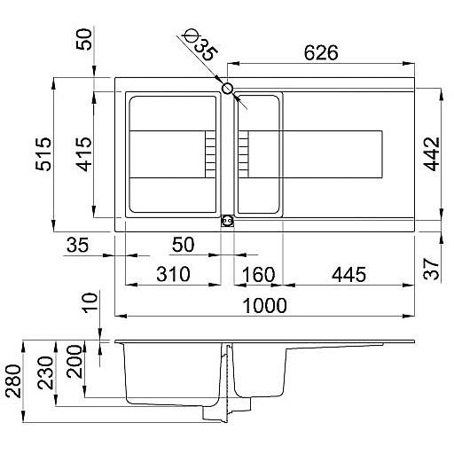 egi47543dx elleci lavello sirex 475 100x51,6 1+1/2 vasche tortora 43 elettronico vasca dx