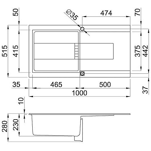 egi48043 elleci lavello sirex 475 100x51,6 1 vasca tortora 43 elettronico vasca sx