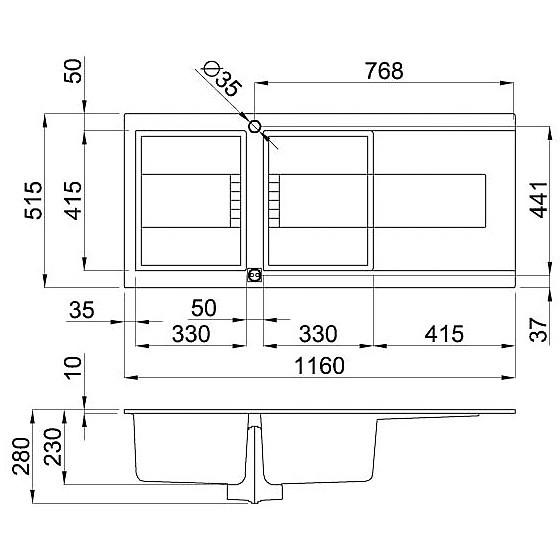 egi50043 elleci lavello sirex 500 116x51,6 2 vasche tortora 43 elettronico vasca sx