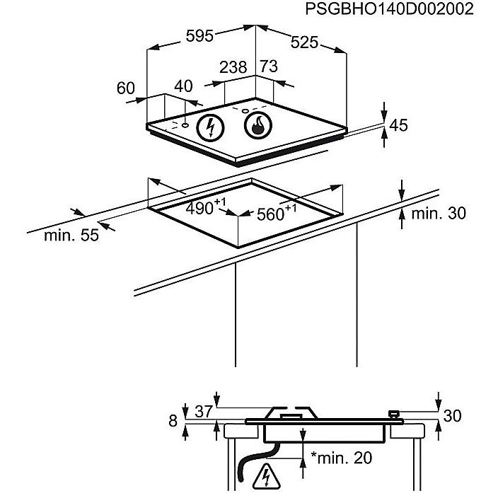 egu-6647lox electrolux piano cottura da 60 cm vertical flame 4 fuochi a gas