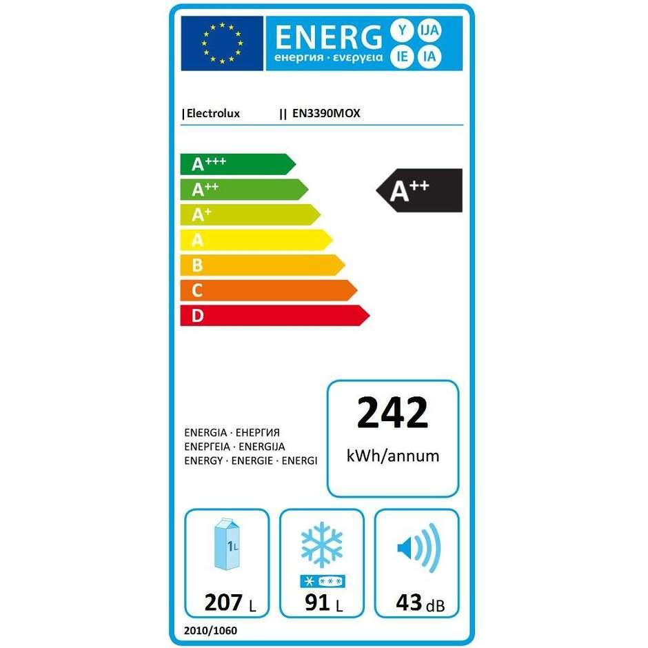 Electrolux EN3390MOX Frigorifero Combinato Classe A++ No Frost Capacità 298 Litri Colore Inox